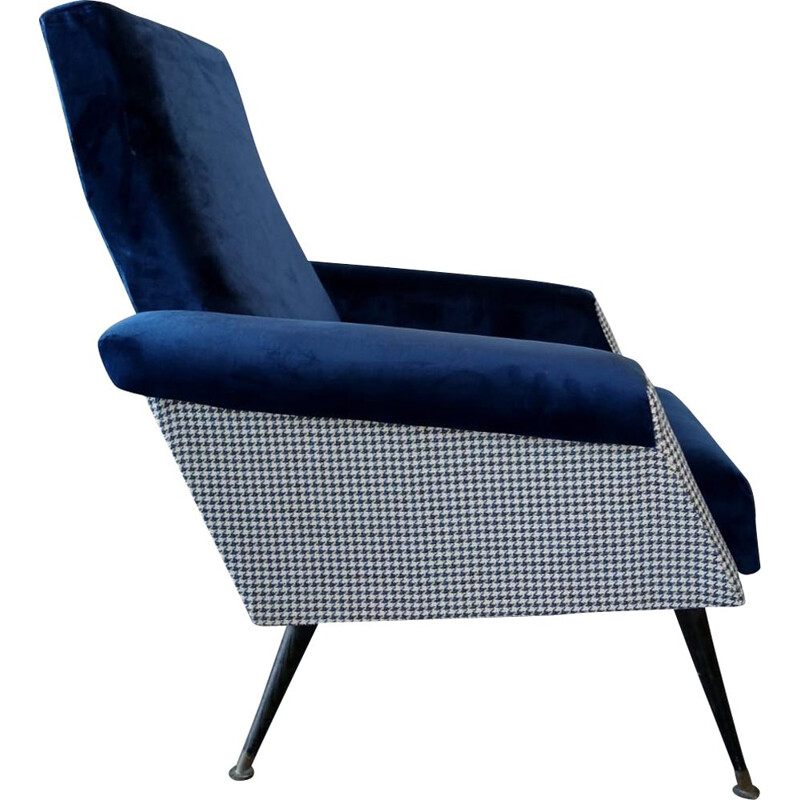 Vintage armchair in dark blue velvet and wood 1950