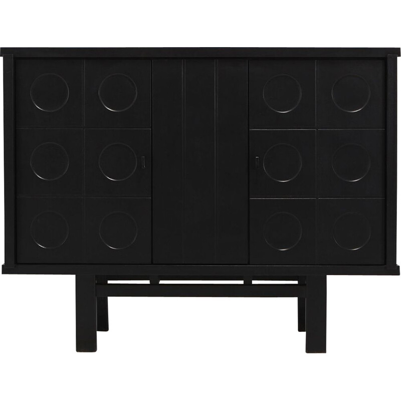 Vintage black highboard for De Coene with geometric doors in dark oakwood 1970