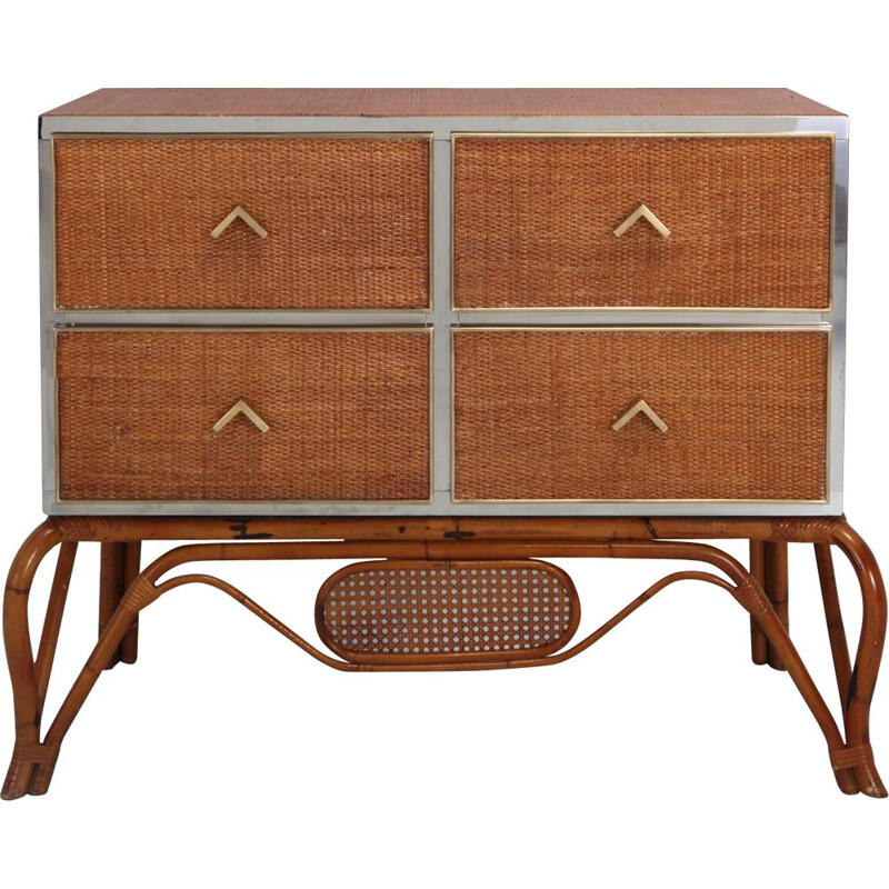 Vintage chest of drawers for Vivai del Sud in rattan bamboo brass and chrome