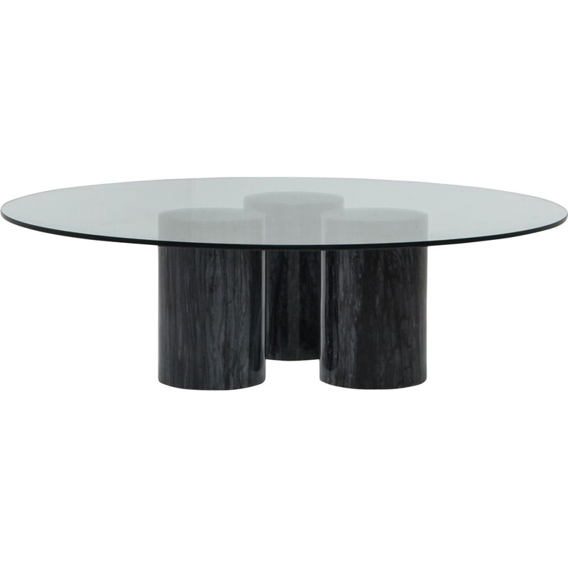 Vintage Collonato table by Bellini in black marble and glass 1970