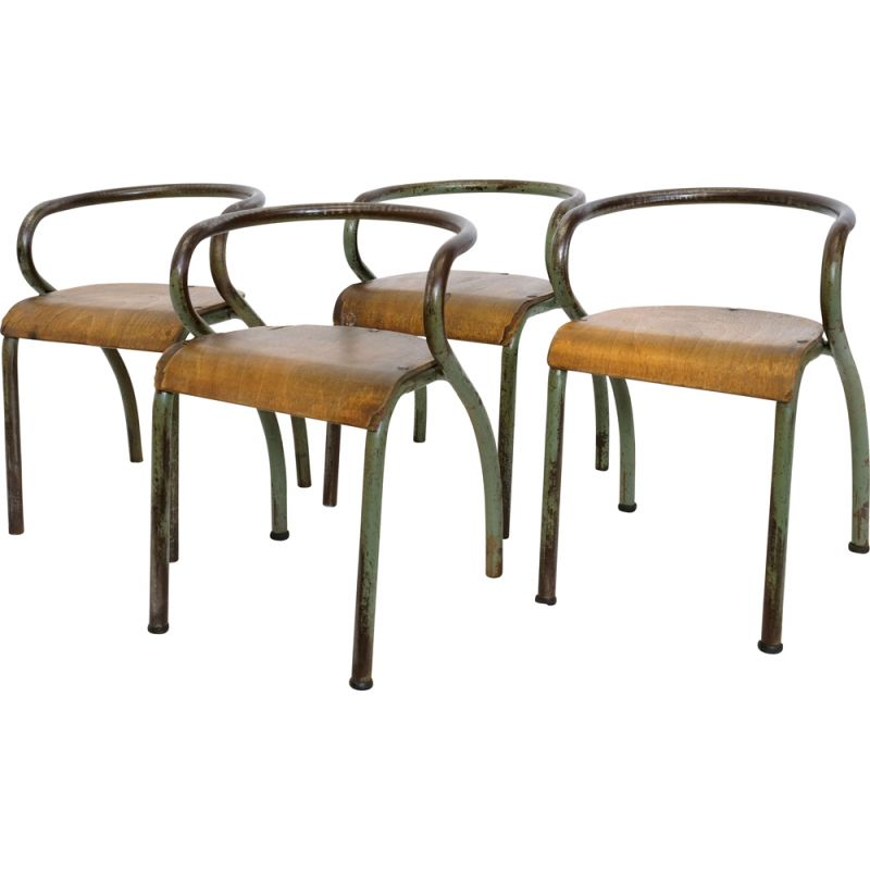 Pair of vintage chairs for Mobilor in wood and metal 1950