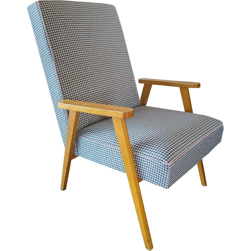 Scandinavian vintage armchair in blue fabric 1960