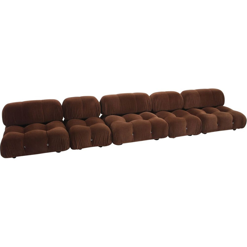Vintage Camaleonda sofa for C&B Italia in brown velvet 1970