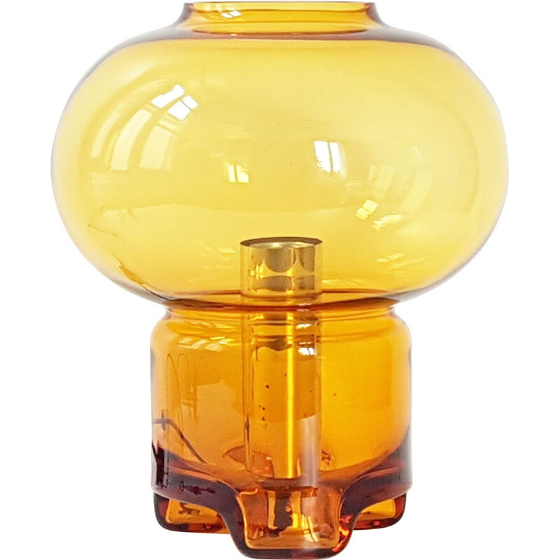 Mushroom vintage lamp for Raak in orange glass 1960