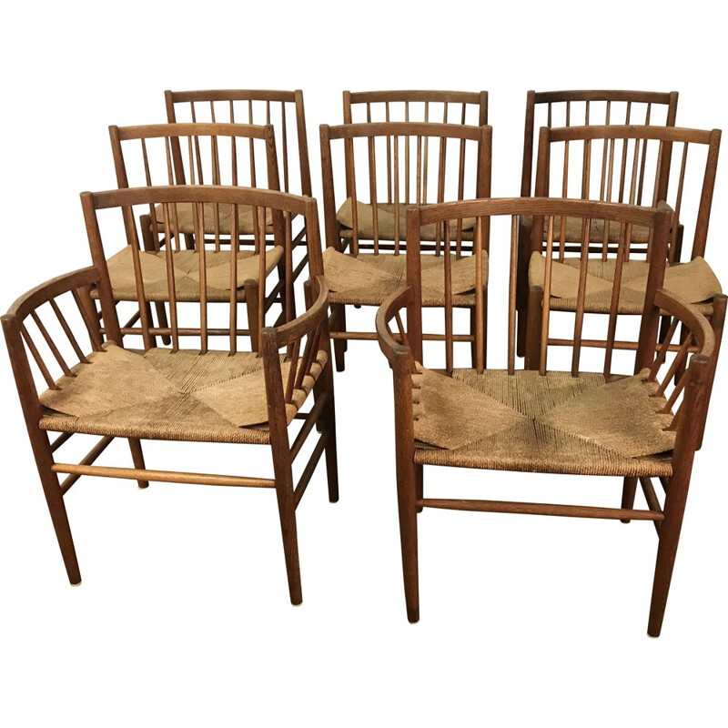 Set of 8 vintage chairs for FDB Mobler in oak and rope 1960