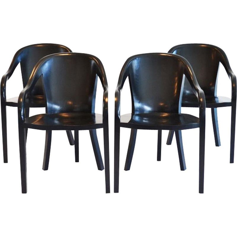 Set of 4 vintage chairs for Brickel Associates in ashwood 1970
