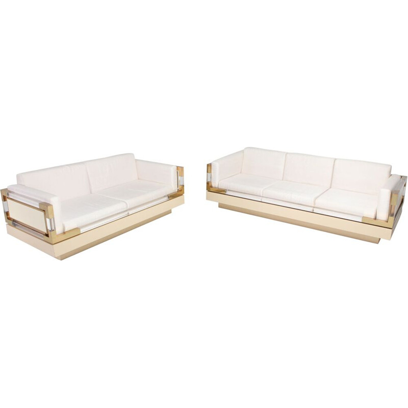 Vintage 3 seater sofa in Cream Lacquer, Brass and Lucite