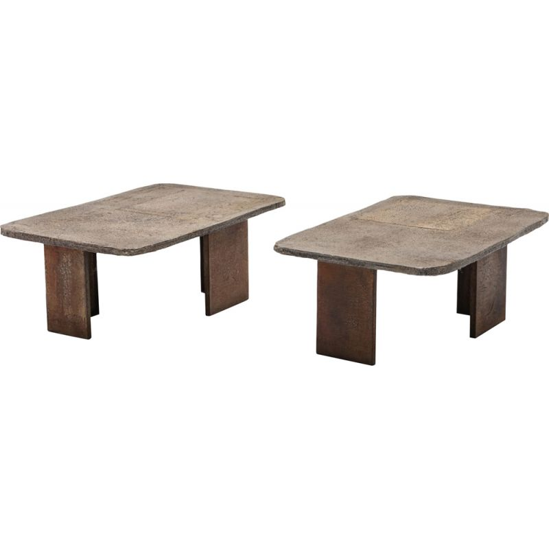 Vintage Pia Manu Brutalist pair of side tables