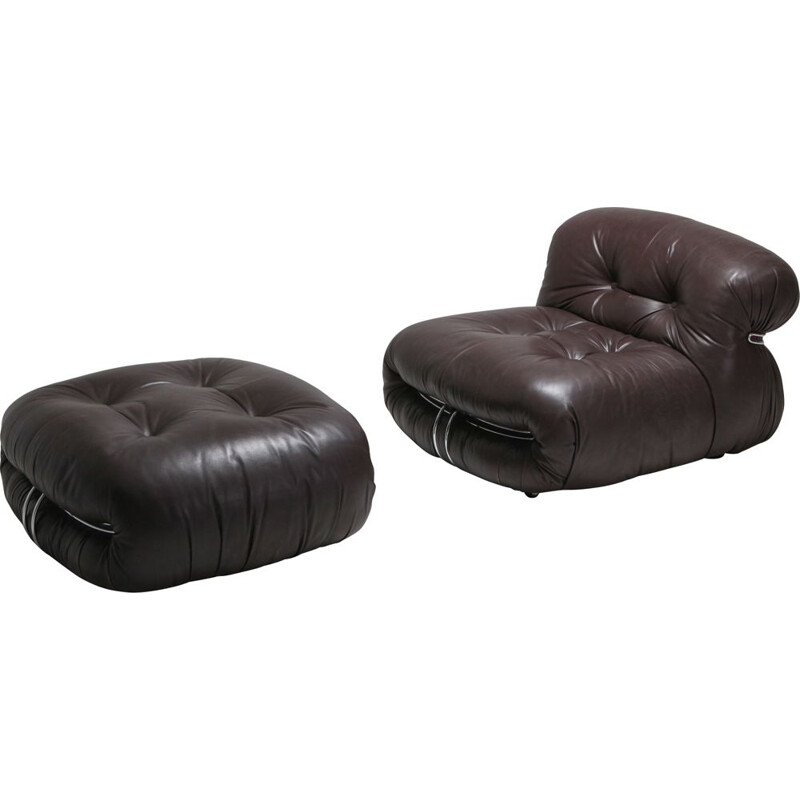 Soriana Lounge Chairs in Dark Brown Leather by Afra & Tobia Scarpa - 1969