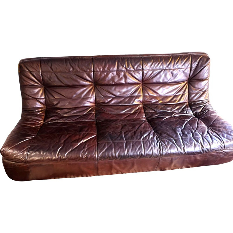 Vintage 3 seater sofa in leather from the 70s