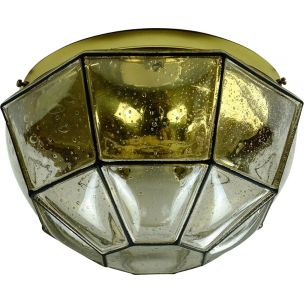 Vintage ceiling lamp in bubble glass and brass by Glashuette Limburg,1960