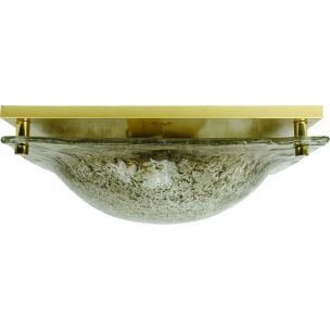 Vintage ceiling lamp in ice glass and brass by Kaiser Leuchten, 1970