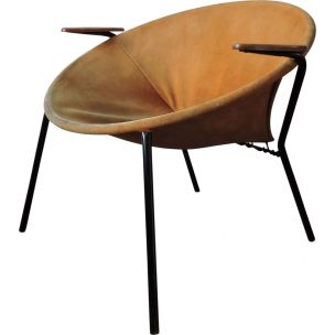 Vintage Balloon beige armchair for Lea Design in steel 1960