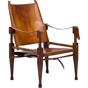 Vintage Safari armchair for Wohnbedarf in brown leather and oakwood 1950
