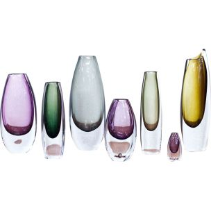 Set of 7 vintage vases for Strömbergshyttan in glass 1950