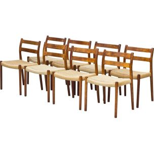 Set of 8 vintage Model 84 chairs for Møllers in teak and rope 1960