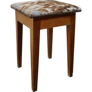 French vintage oak and skin stool 1950