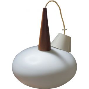 Vintage white dutch hanging lamp for Philips in wood and opaline