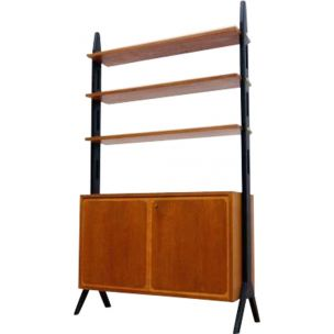 Scandinavian vintage bookcase in teak and metal 1950