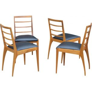 Set of 4 vintage chairs for McIntosh in teak and black leatherette 1960