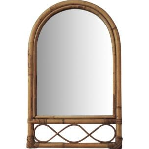 Vintage mirror in bamboo and cane 1970
