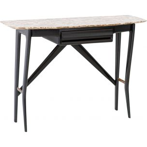 Vintage italian table for La Permanente Cantu in wood brass and marble 1950