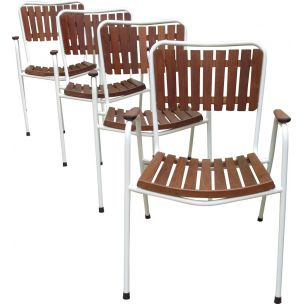 Set of 4 vintage chairs by Daneline in teak and metal 1960