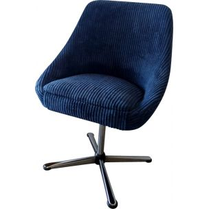 French vintage swivelling armchair in blue fabric 1970
