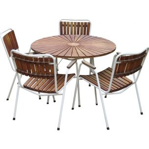 Set of 4 vintage chairs and table for Daneline in teakwood and metal 1960