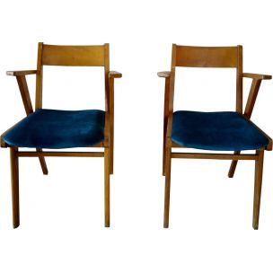 Pair of french vintage armchairs in velvet and wood 1950