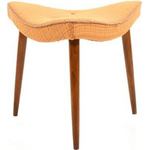 Vintage danish triangular footstool in teak and fabric 1950