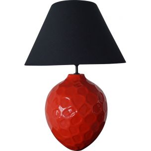 French vintage lamp in red and black ceramics 1980