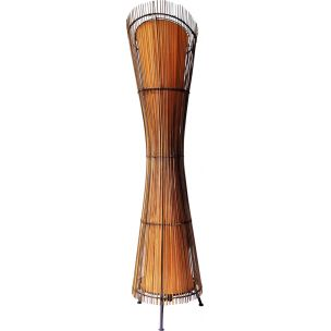 French vintage Kobe floorlamp in bamboo and metal 1980