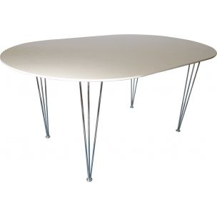 Vintage white ellipse shaped table with hairpin legs 1970