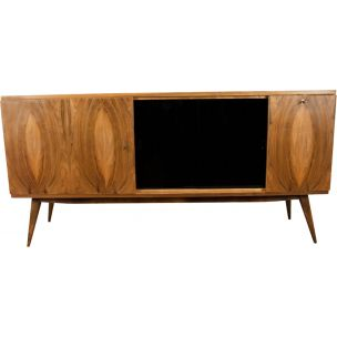 Vintage sideboard in walnut and glass 1960