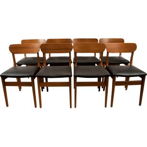 Set of 8 vintage chairs in teak & leather by Nils Jonsson for Hugo Troeds Scandinavian 1960s