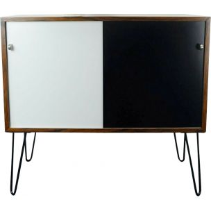 Vintage sideboard in rosewood black & white 1960s