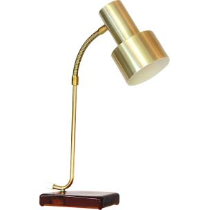 Vintage desk lamp in brass aluminium & glass base, Sweden 1960s