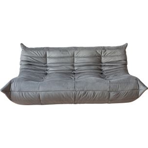 Vintage 3-seater sofa Togo in Velvet by Michel Ducaroy for Ligne Roset 1970s