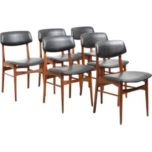 Set of 6 vintage dining chairs in teak Denmark 1960s