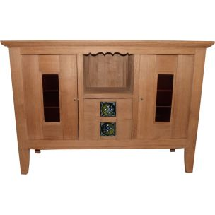 Vintage highboard in oak Charles Dudouyt 1940