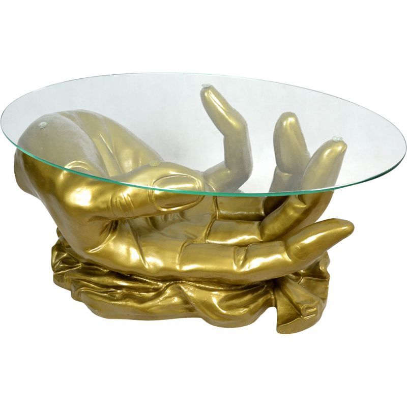 French vintage golden coffee table handshape in glass 1970