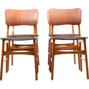 Set of 4 vintage Danish chairs in teak and beech