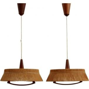 Pair of Scandinavian vintage hanging lamps Temde Leuchten