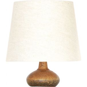 Vintage lamp with hand-turned stoneware base by Rolf Palm