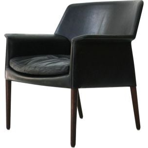 Vintage leather and rosewood armchair by Larsen and A.B Madsen, 1960