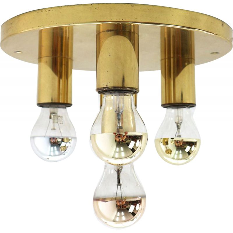 Vintage brass ceiling light with four lights,1970