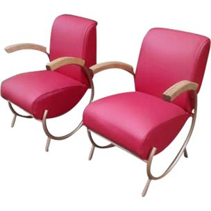 Pair of vintage armchairs for Thonet in red leatherette 1930