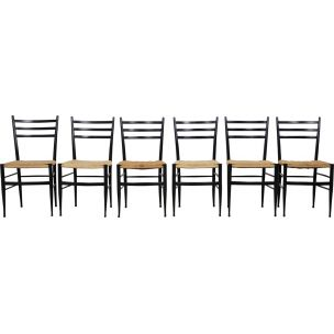 Set of 6 vintage Spinetto chairs by Chiavari in wood and rope 1950