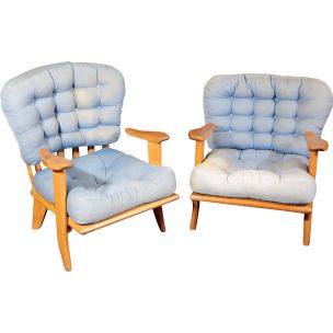 Pair of vintage armchairs Guillerme and Chambron, Votre Maison edition 1960